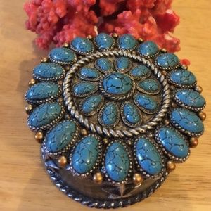 Vintage Clay Bejeweled Jewelry Box